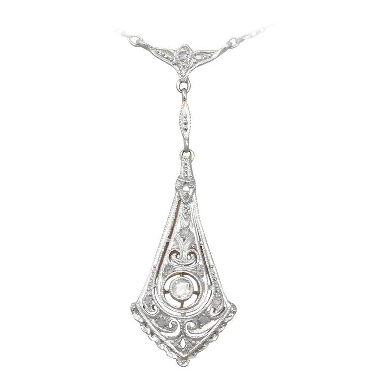 0.14 Ct Diamond and 14 k White Gold Pendant - Art Deco Style - Antique 1