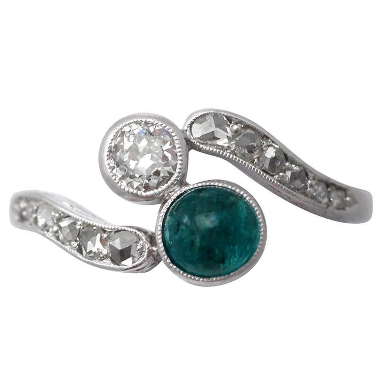 0.48Ct Emerald k 0.27Ct Diamond, 18k White Gold Twist Ring - Antique Circa 1910
