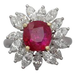 2.30Ct Ruby & 1.85Ct Diamond, Platinum Cluster Ring - Vintage French Circa 1960
