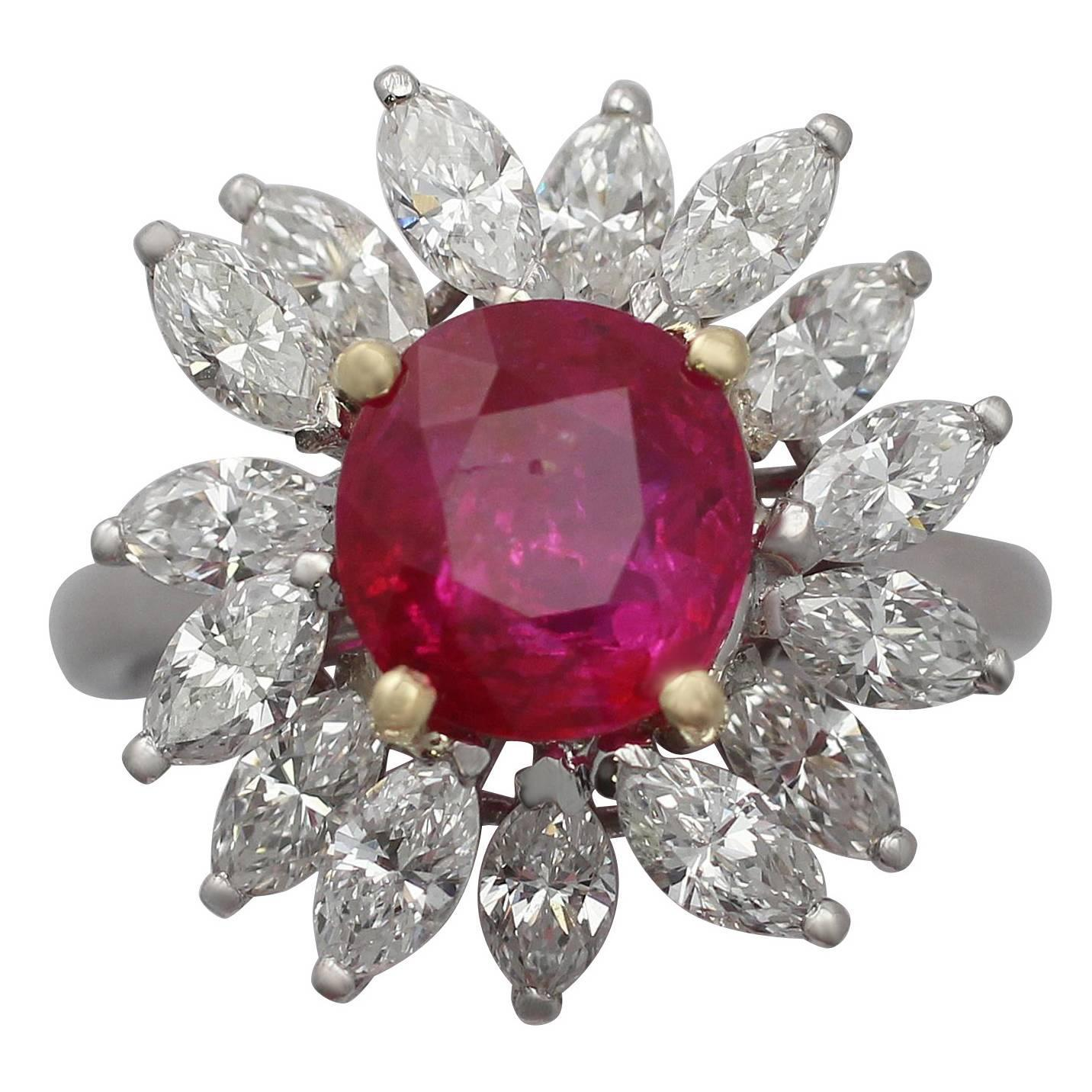 230ct Ruby And 185ct Diamond, Platinum Cluster Ring  Vintage French  Circa 1960 For Sale At 1stdibs