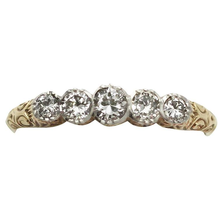 0.42Ct Diamond and 14k Yellow Gold, Five Stone Ring - Antique Circa 1920