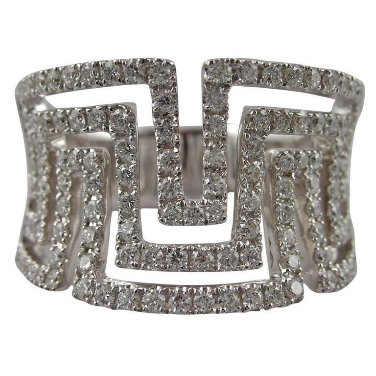 Jona Greek Key Diamond Gold Band Ring