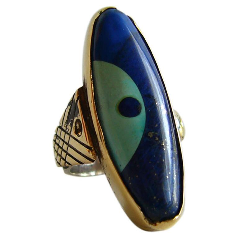 Daniel Macchiarini Lapis Turquoise Silver Gold Dot Ring For Sale