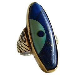Daniel Macchiarini Lapis Turquoise Silver Gold San Francisco Modern Dot Ring