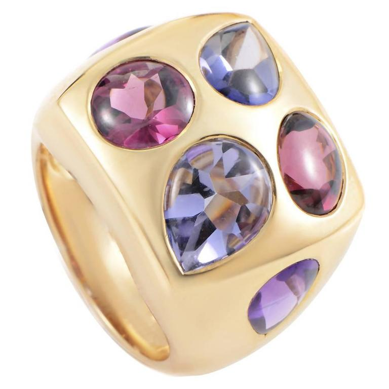 Chanel Amethyst Iolite Tourmaline Gold Cocktail Ring at ...