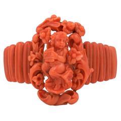 Victorian Coral Figural Cuff