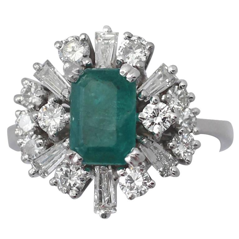 1.48Ct Emerald & 1.08Ct Diamond, 18k White Gold Cluster Ring, Vintage Circa 1970