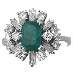1.48Ct Emerald & 1.08Ct Diamond, 18k White Gold Cluster Ring, Vintage Circa 1970