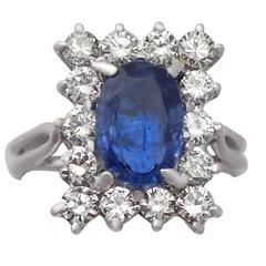 1980s 2.18 Carat Sapphire & 1.43 Carat Diamond White Gold Cocktail Ring