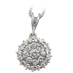 1.38 Ct Diamond, 18 k White Gold Cluster Pendant - Vintage Circa 1970