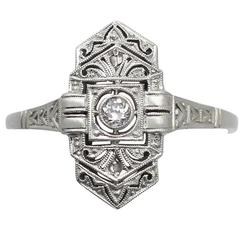 1920s Antique Diamond and White Gold Cocktail Ring