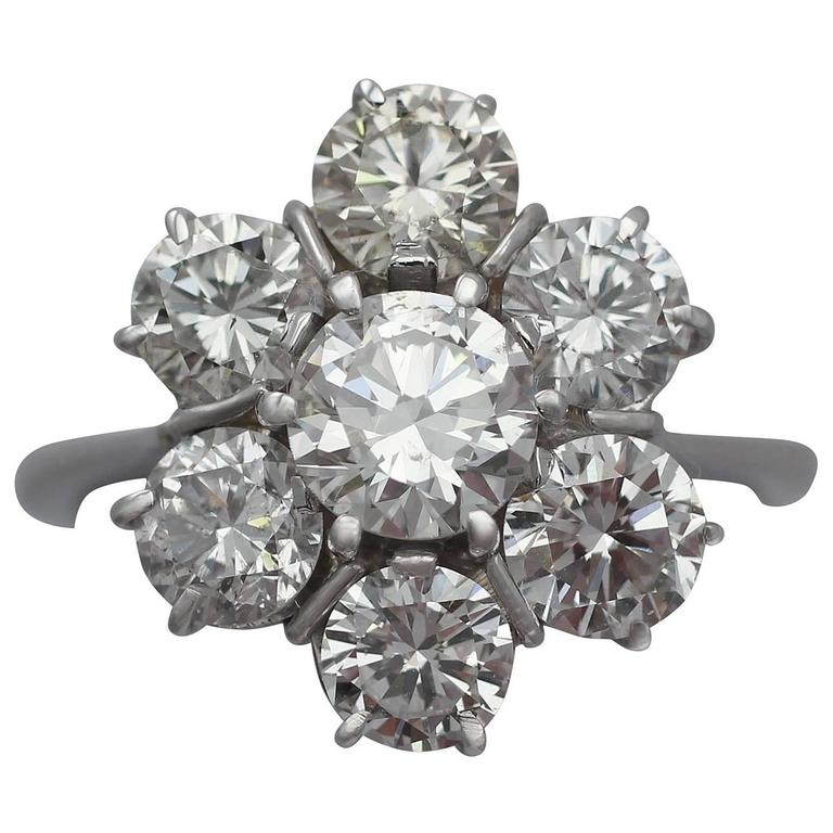 2.68Ct Diamond and 18k White Gold Cluster Ring - Vintage Circa 1950