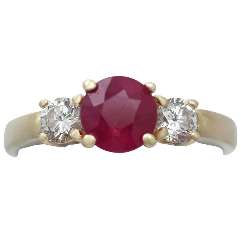 1.32Ct Ruby & 0.46Ct Diamond, 18k Yellow Gold Trilogy Ring - Contemporary