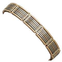 15k White Gold and 15k Rose Gold Gate Link Bracelet - Antique Circa 1910