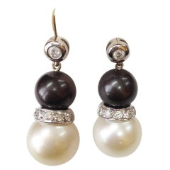 Tahitian and White South Sea Pearl and Diamond Gold Earrings Estate Fine Jewelry