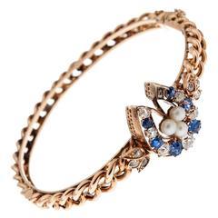 Antique Pearl Sapphire Diamond Gold Horseshoe Bangle Bracelet