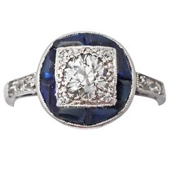 1920s Antique Sapphire & Diamond White Gold Ring