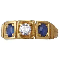 Antique Sapphire Diamond Gold Three Stone Ring