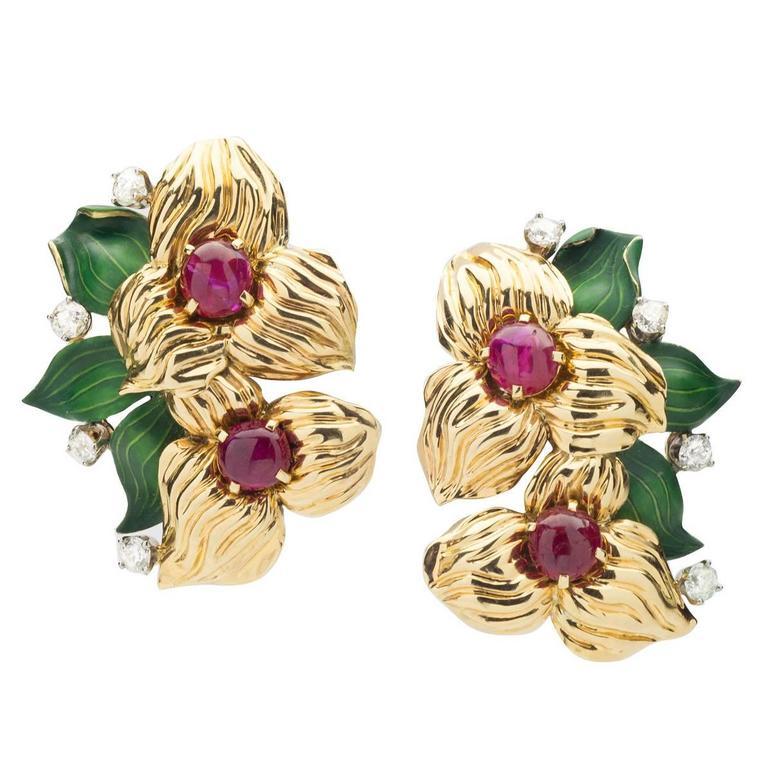 Cartier Ruby Diamond Gold Earclips