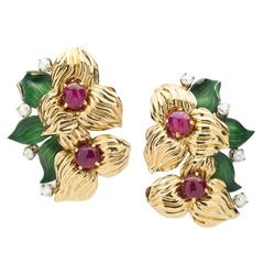 Cartier Ruby Diamond Gold Earclips
