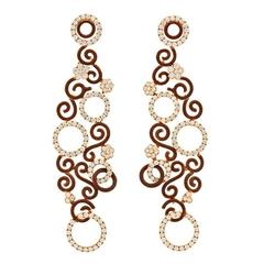 Magnificent Enamel Diamond Gold Chandelier Earrings
