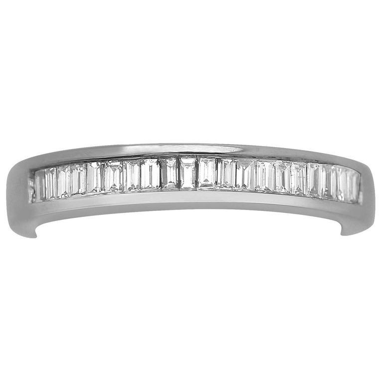 0.34Ct Diamond and 18k White Gold Half Eternity Ring - Vintage Circa 1990