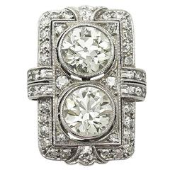 1920s French 4.84 Carat Diamond Platinum Art Deco Ring
