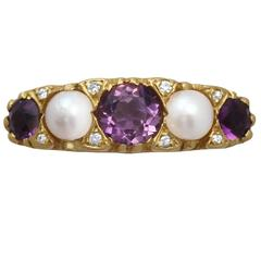 1950s Amethyst Pearl & Diamond Yellow Gold Cocktail Ring