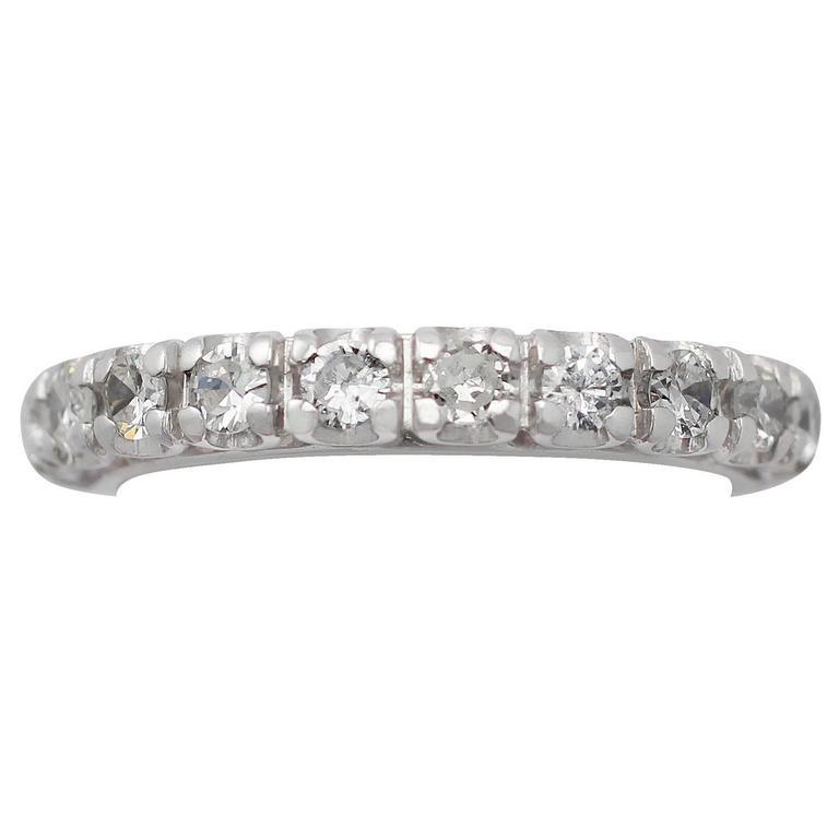 0.35Ct Diamond 18k White Gold Half Eternity Ring - Vintage French Circa 1980