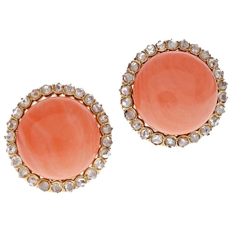 Coral Rose Cut Diamond Gold Clip Earrings 1