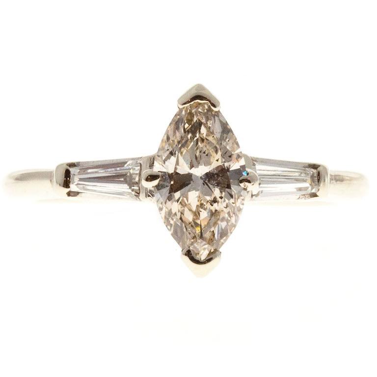 .69 Carat Light Brown Marquise Diamond Three-Stone Gold Engagement Ring 1