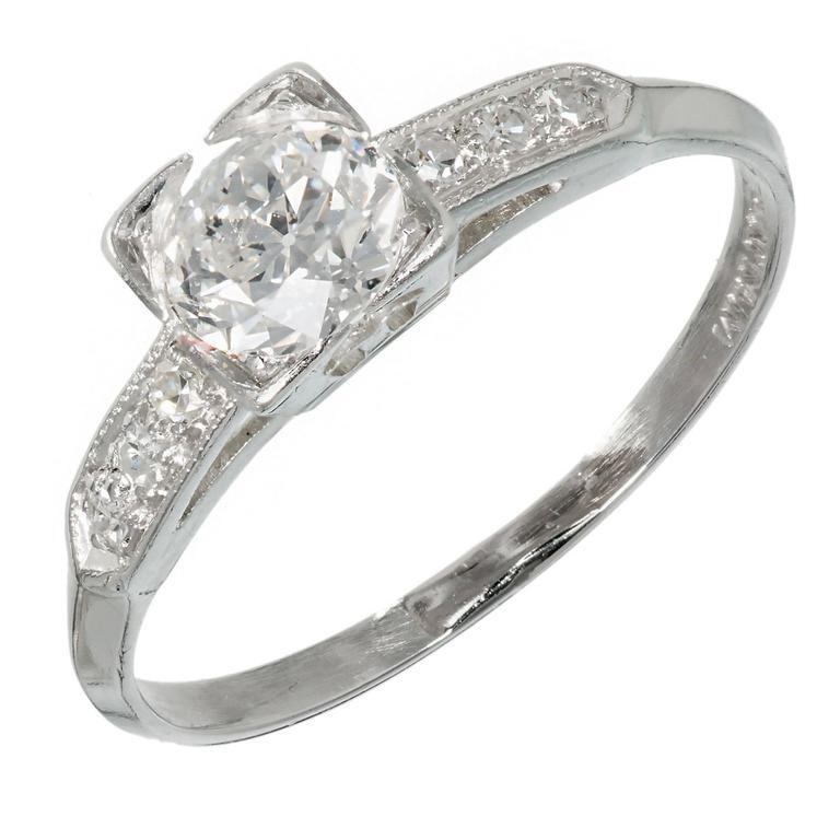 Art Deco Diamond Solid Platinum Engagement Ring For Sale