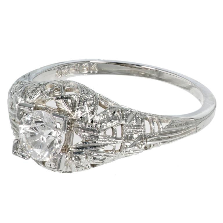 Art Deco Diamond Old European Cut Dome Gold Engagement Ring