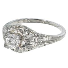 Art Deco Diamond Old European Cut Dome Gold Engagement Ring