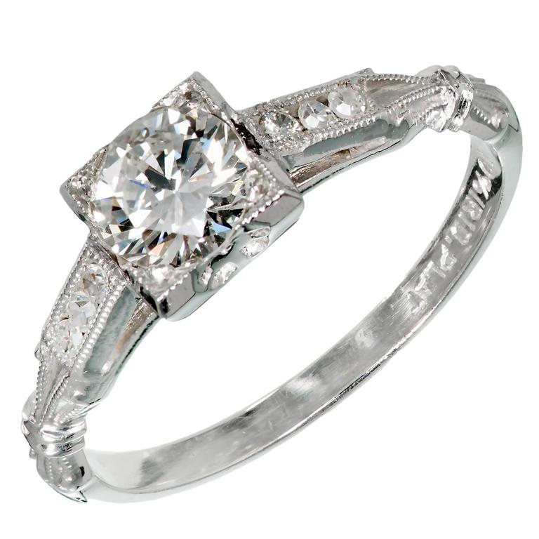 Art Deco Single Cut Diamond Platinum Engagement Ring