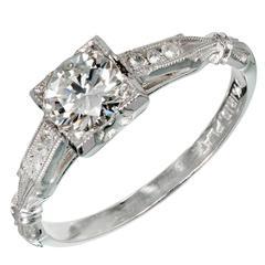 Art Deco Single Cut Diamond Platinum Engagement Ring
