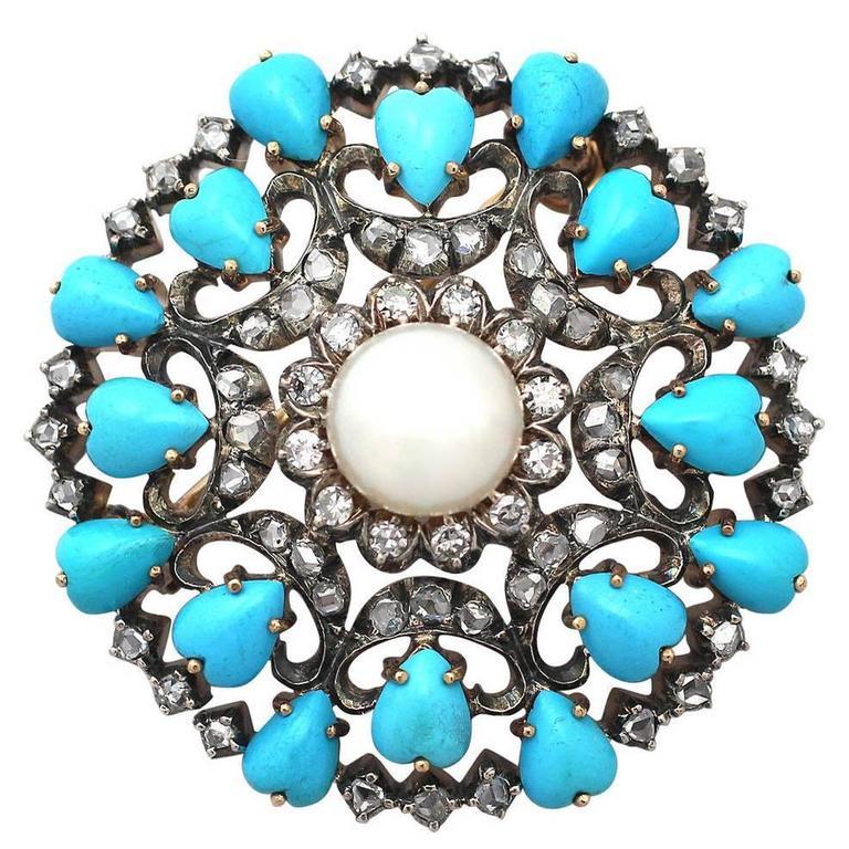 Victorian 1.36 Carat Diamond Pearl & Turquoise Yellow Gold Brooch