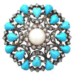 Victorian 1.36 Carat Diamond Pearl & Turquoise Yellow Gold Brooch