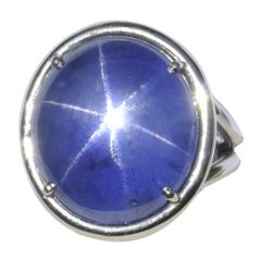 Natural 27.38 Carat GIA Cert Star Sapphire Red Spinel Platinum Ring