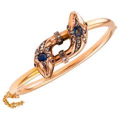 Victorian Sapphire Ruby Diamond Gold Snake Bangle Bracelet