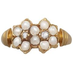 1871 Antique Pearl and Diamond Yellow Gold Dress Ring