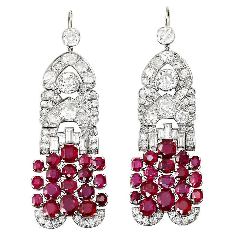 Art Deco French Burma No Heat Pigeon Blood Ruby Diamond Earrings