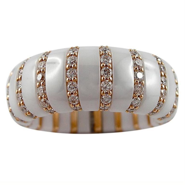 Jona High-Tech White Ceramic Diamond Rose Gold Flexible Ring