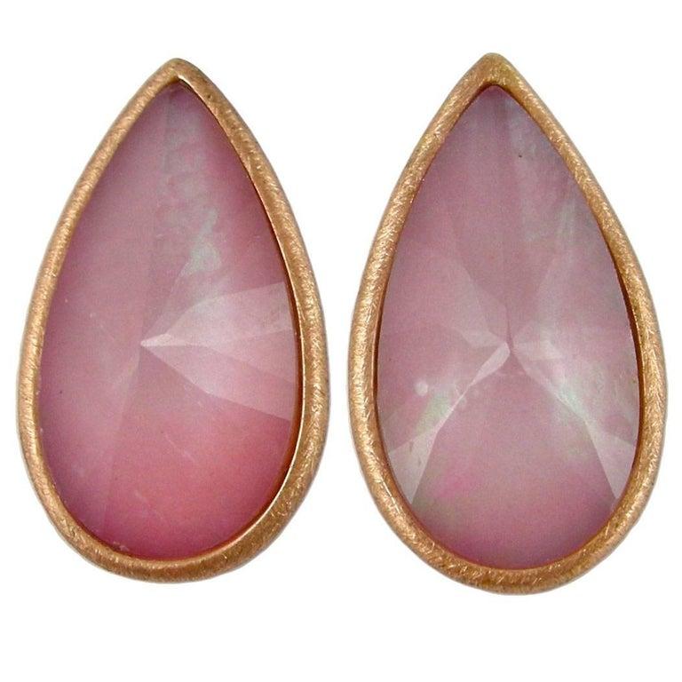 Jona Pink Opal Quartz 18 Karat Brushed Rose Gold Stud Earrings