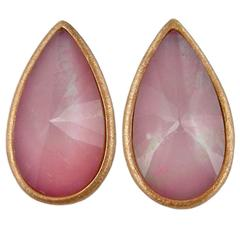 Jona Pink Opal Quartz 18 Karat Brushed Rose Gold Stud Earrings
