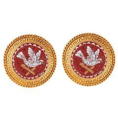 Etruscan Revival 18 Karat Bloomed Gold Micro Mosaic Earrings