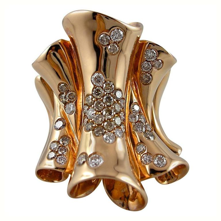 Jona Pergamena White and Brown Diamond Gold Band Ring For Sale