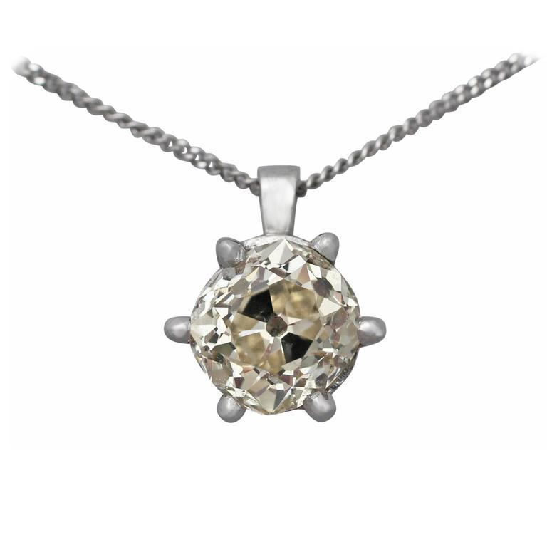 1.55Ct Diamond & Platinum Solitaire Pendant - Antique Circa 1890 & Contemporary