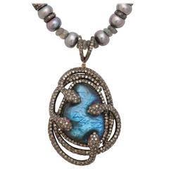 Mysterious Labradorite Pearl Diamond Snake Necklace