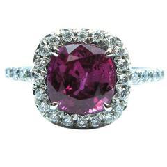 2.22 Carat Ruby Diamond Pave Platinum Frame Ring